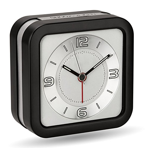 (Peakeep Loud Melody Alarm Clock for Hearing Impaired with Snooze and Backlight, Battery Operated Quartz Analog Clocks for Heavy Sleepers (Black))