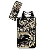 Pard Relief Dragon Windproof Cross Arc Lighter, USB Rechargeable Flameless Electronic Pulse Arc Cigarette Lighter, Black