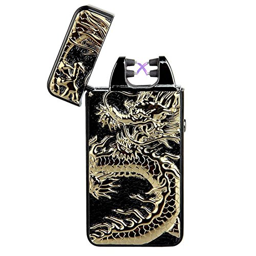 Pard Windproof Cross Arc Lighter, Cigar Lighter, USB Rechargeable Flameless Electronic Pulse Arc Cigarette Lighter