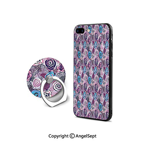 iPhone 7/8 Case with 360°Degree Swivel Ring,Drawing Style Rose Gentle Spring Garden Artwork Nature Romantic Foliage Decorative,Shock-Absorption Bumper,Blue Violet Dark Purple