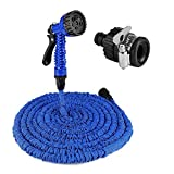 Garden Hose - 50FT Expandable Garden Hose Pipe, RAMANA SD Expanding Garden Hose - with 7 in 1 Spray Nozzle and Adapter, Connector, Lightweight Water Hose, Suitable for Home, Car Cleaning and Heavy Duty Commercial Use (Blue)