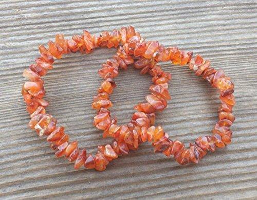 [A&S Crystals] CARNELIAN Natural Stone Gemstone Stretchy Chip Bracelet