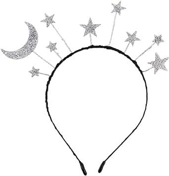 Amosfun 2 piezas de diadema de traje de lentejuelas estrellas luna ...