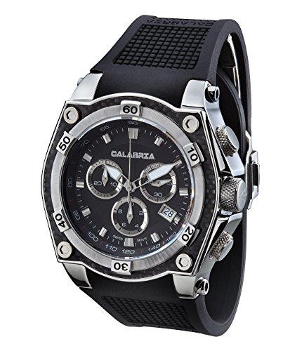 CALABRIA - AZZARDO - Classic Black Chronograph Men Watch with Carbon Fiber Bezel Carbon Fiber Chronograph Watch