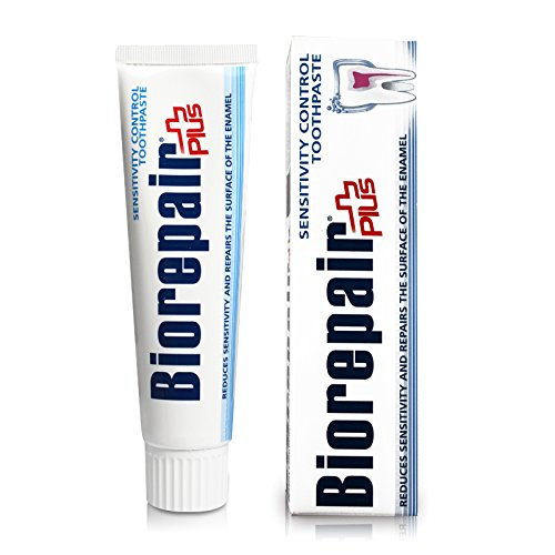 2pcs biorepair plus+ 46% microrepair sensitive plus toothpaste 100ml (pack of two) protect enamel & REPAIR from acid erosion and plaque files cracks / holes safe for whole family by coswell