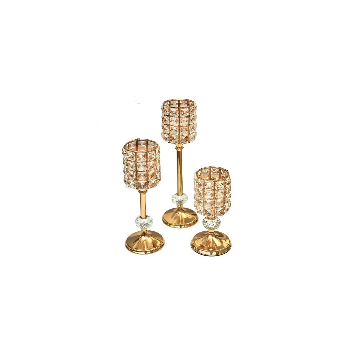 Juzhenma Crystal Golden Candlestick Three-Piece Set for Decorating The Living Room Table Wedding Hotel Model Room (Color : Gold)
