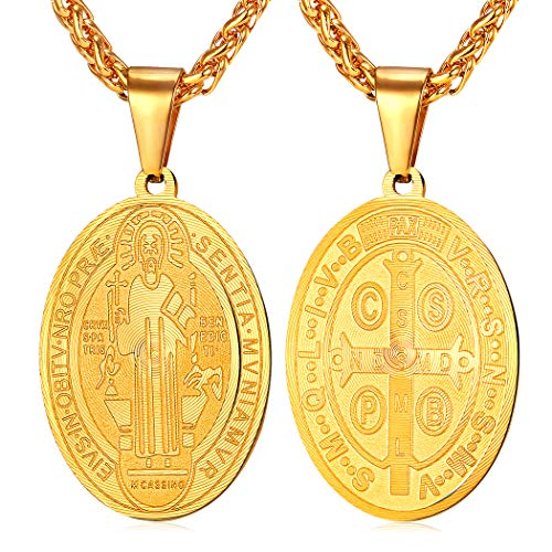 (U7 Men Saint Benedict Medal Necklace Boys Catholic Jewelry 18K Gold Plated Stainless Steel Chain Oval Ward Off Protection Medal Pendant Necklaces, 22