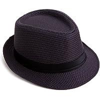 c3a5b34dd7eb3 HDE Pinstripe Houndstooth Stingy Short Brim Fedora Gangster Cuban Style Hat  Cap
