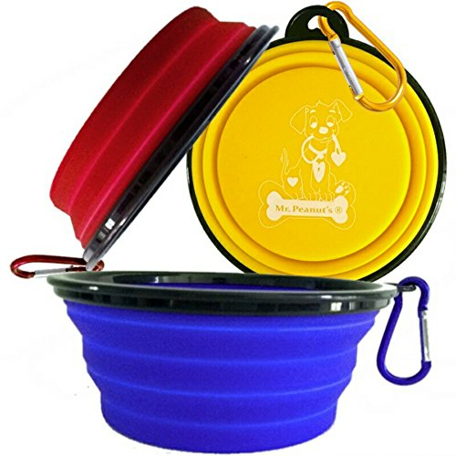 Mr. Peanut's Collapsible Dog Bowls, Set of 3 with Matching Carabiner Clips, Food Grade Silicone Portable Pet Bowls, Perfect Foldable Travel Bowls for Journeys, Hiking, Kennels & Camping