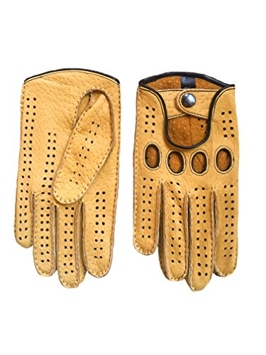 Men's Peccary Driving Gloves Color Yellow by Hungant (7.5, Yellow) by Hungant