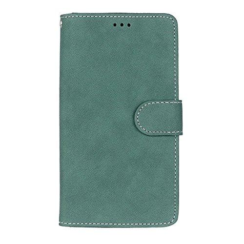 YHUISEN Estilo retro de color sólido Premium PU cuero cartera de la caja Flip Folio cubierta de la caja de protección con ranura para tarjeta / soporte para Sony Xperia Z5 Plus ( Color : Rose ) Green