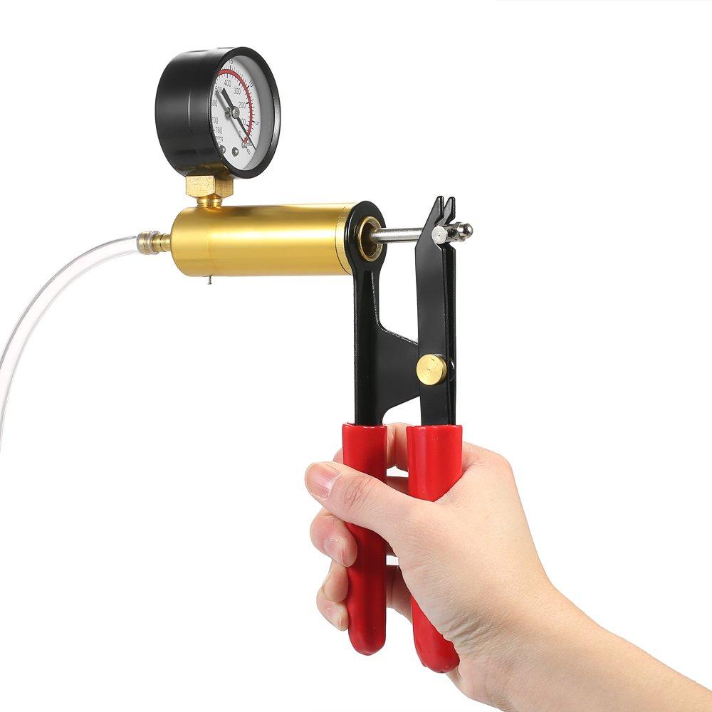 KKmoon 2 en 1 Kit de probador de compresión 7pcs profesional de mano Bomba de presión de vacío freno sangrado adaptador probador de depósito de líquido: ...