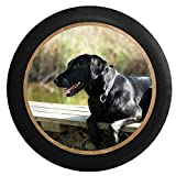 Full Color Black Lab Retriever Hunting Dog on the Dock - Man's Best Friend Jeep RV Camper Spare Tire Cover Black 29 in