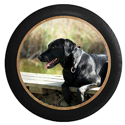 Full Color Black Lab Retriever Hunting Dog on the Dock - Man's Best Friend Jeep RV Camper Spare Tire Cover Black 29 in by Pike Outdoors
