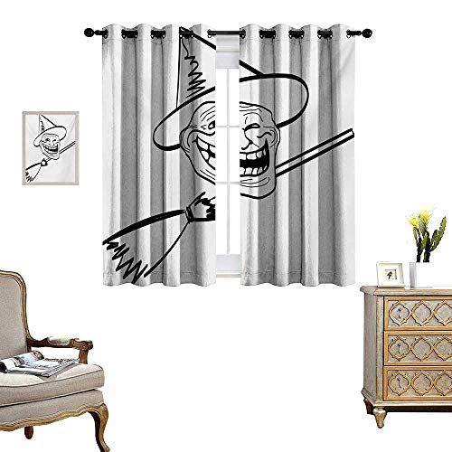 Humor Room Darkening Wide Curtains Halloween Spirit Themed Witch Guy Meme LOL Joy Spooky Avatar Artful Image Print Decor Curtains by W55 x L45 Black and White]()