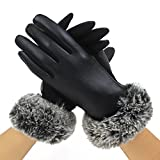 Cozy Design Women's PU Leather Screen Touch Gloves with Faux Cony Hair Cuffs Black S