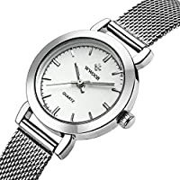 Women's Watch Fashion Analog Quartz Watches with Stainless Steel Mesh Band Waterproof Wristwatch Casual Watch Ladies (White)