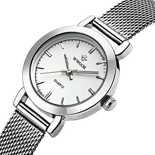 Ladies Watch White Bracelet (WWOOR Women's Watch Fashion Analog Quartz Watches with Stainless Steel Mesh Band Waterproof Wristwatch Casual Gift Watch Ladies (White))