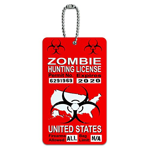 United States Zombie Hunting License Red Permit ID Tag Luggage Card Suitcase Carry-On