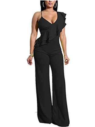 c0a5e22c293 Amazon.com  Xuan2Xuan3 Women V Neck Ruffles Jumpsuit Sleeveless Sexy Wide  Leg Long Pant One Piece Jumpsuit Romper  Clothing