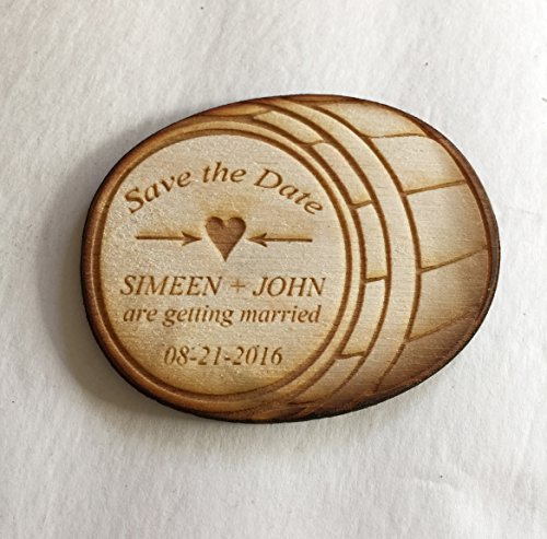 60 Barrel Save the Date Magnets - Wedding by Vintage Blooming