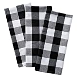 DII Cotton Buffalo Check Plaid Dish Towels, (20x30, Set of 3) Monogrammable Oversized Kitchen Towels for Drying, Cleaning, Cooking, Baking - Black & White