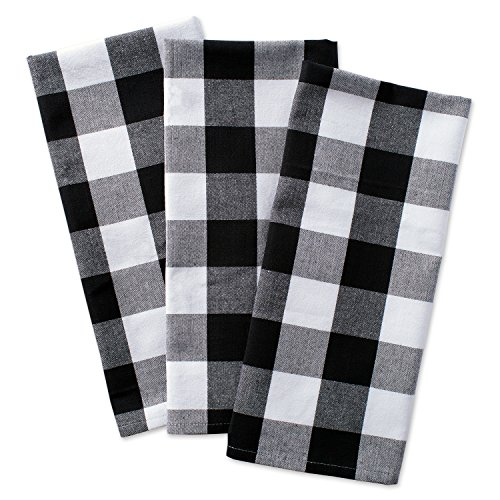 Dish Plaid Towel (DII Cotton Buffalo Check Plaid Dish Towels, (20x30, Set of 3) Monogrammable Oversized Kitchen Towels for Drying, Cleaning, Cooking, Baking - Black & White)