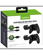 GameWill Rechargeable Controller Battery Pack [2-PACK] with [1200 mAh HIGH POWER capacity] for Xbox Series X and Series S (also compatible with Xbox Series One X/S) - Black