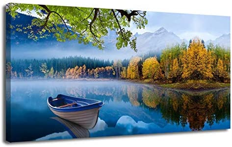 Canvas Wall Art Prints Blue Sky Lake Natural Landscape One Panel 48 x24 Panoramic Mountain Picture Artwork Autumn Framed Painting Ready to Hang for Living Room Bedroom Kitchen Bathroom Decorations