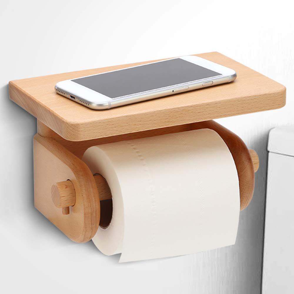 ERT Toilet Paper Holder, Solid Wood Bathroom Wall-Mounted Paper Roll Holder Paper Towel Holder Toilet Paper Storage Box