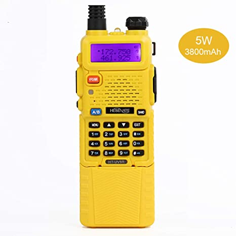 HESENATE HT-UV5R Plus Dual Band Two Way Radio W/Extended 3800 mAh Battery  (Yellow)