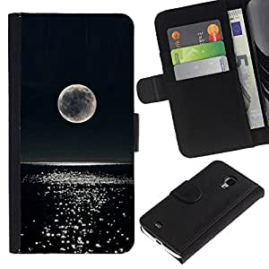 A-type (Moon Night Glitter Ocean Water) Colorida Impresión Funda Cuero Monedero Caja Bolsa Cubierta Caja Piel Card Slots Para Samsung Galaxy S4 Mini i9190 (NOT S4)