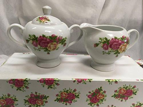 Fine China, Roses Sugar and Creamer Set -