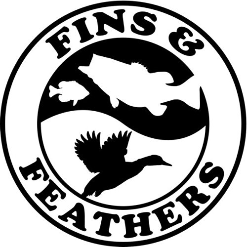 Fins and Feathers Fish Duck Sportsman Hunting Vinyl Decal Sticker- 6