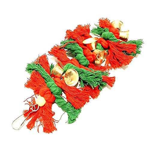 Image of Mrli Pet Xmas Bird Toys, Parrot Cage Christmas Style Chew Toy Soft Cotton Rope Hanging Bite Toy with Colorful Bell