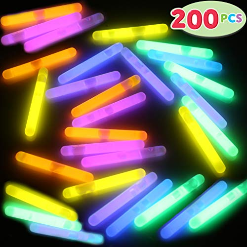 JOYIN 200 Pcs Mini Glow Sticks Bulk with 8 Colors for Glow Easter Egg, Kids Glow-in-The-Dark, Easter Basket Stuffers Fillers Gift, Easter Eggs Hunt Game and Easter Party Favors -