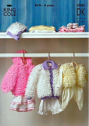King Cole Baby Loopy Jackets Hat Bolero Dk Knitting Pattern 2985