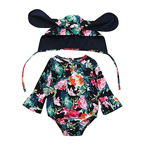 - Hattfart Newborn Baby Girls Floral Print Long Sleeve Round Neck Vintage Romper Infants Jumpsuit Ear Hat Outfits Set (70, Multicolor)
