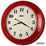 17-inch Jumbo Simply Modern Style Quality Made Thickish Heavy Metal Wall Clock, Home Decor, Wall Hang Art (WG0056 Red)