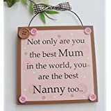 Not only are you the best Mum in the world you are the best Nanny too wooden gift plaque by Craftworks