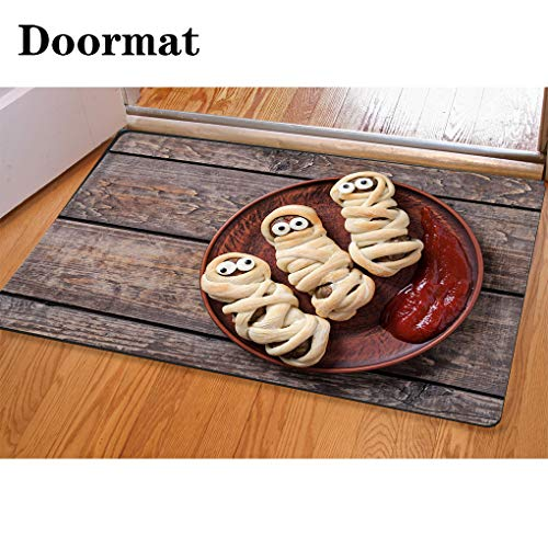 HooMore 3D Printing and Dyeing,Bathroom Carpet, Door mat,Mummy Sausages Scary Halloween Party Food Decoration Wrapped in Dough Flannel Foam Shower mat, Absorbent Kitchen Door -