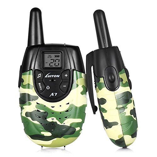 4 Channel Voice Activated Intercom (Chliste Walkie Talkies For Kids,22 channels for FRS / GMRS 2 Way Radio Up to 2 Miles UHF Handheld Walkie Talkie Outdoor Toys With Rechargeable Battery Luiton A7(Army Green Camo 1 Pair))