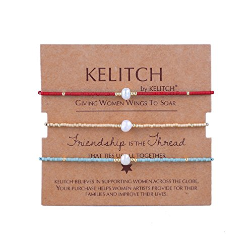 KELITCH 3 Pcs Shell Pearl Seed Beads Friendship Bracelets Handmade Adjustable String Bracelet #T ()