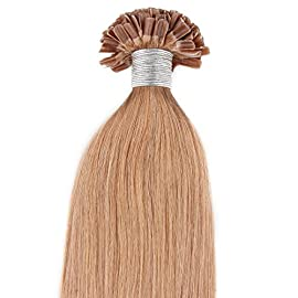 Beauty7 50g 1g/s Pre Bonded Nail U Tip Real Remy Human Hair Extensions 18″ 20″ 22″ 24″ #27 Strawberry Blonde (24″ 1g/s)