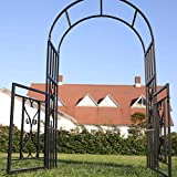 """1. GO Steel Garden Arch with Gate, 6'7"""" High x 3'7"""" Wide, Garden Arbor for Various Climbing Plant, Outdoor Garden Lawn Backyard"""