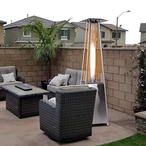 Alek...Shop Modern Design Pyramid Stand Outdoor Patio Heater 40,000BTU Home Garden Backyard Propane Radiance Glass Tube Dancing Flames, Stainless Steel