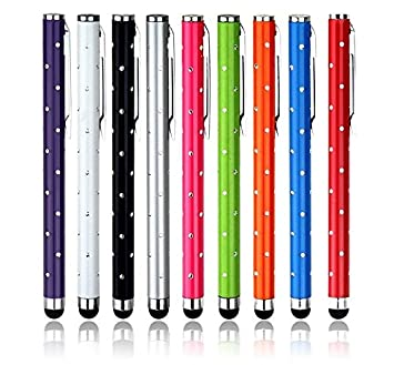 9 Pack Bling Stylus Touch Screen Cellphone Tablet Pens for iPhone 5 5S 5C 4 4S 3G 3GS iPod Touch iPad 2 3 4 Air SONY PLAYSTATION PSP PS VITA Motorola Xoom, Samsung Galaxy, BlackBerry Playbook AMM0101US, Barnes and Noble Nook Color, Droid Bionic