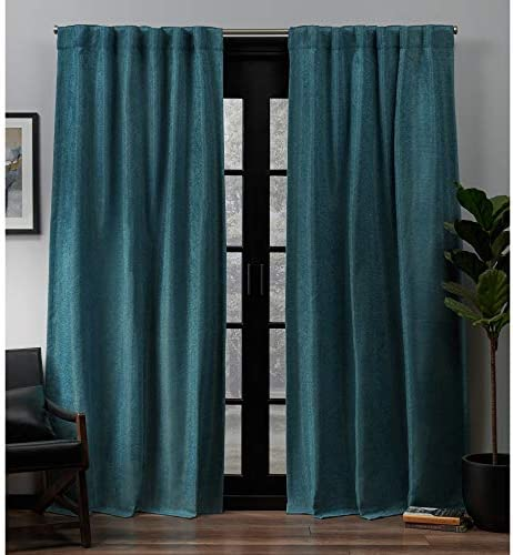 Exclusive Home Curtains Lancaster Basket weave Woven Blackout Hidden Tab Top Curtain Panel Pair