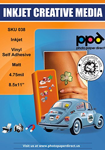 PPD Inkjet Matt Creative Vinyl Stickers LTR 8.5x11 4.7mil x 50 Sheets (PPD038-50)