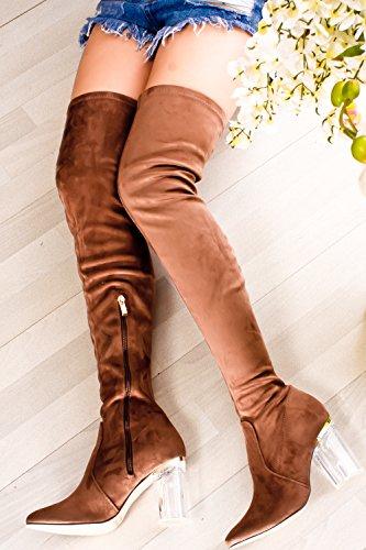 Lolli Couture für immer Link Kunstleder Lace UP lange Kampfstil mit Ferse kniehohe lange Stiefel Taupe-Cameron-2